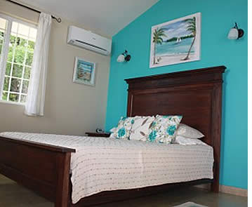 Room within one of the beach front villas in Bocas del Toro