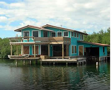 Casa Saigon built over the Caribbean Sea in Isla Colon, Bocas del Toro, Panama